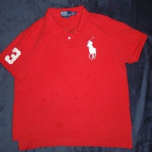 POLO RALPH LAUREN BIG PONY SHIRT RED #3  Small